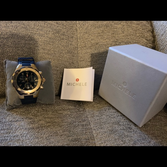 Michele Accessories - Michele Blue Tahitian Chronograph Watch